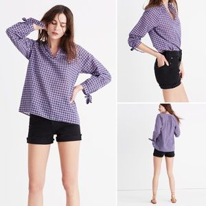 Madewell Tie Sleeve Popover Top in Whitby Plaid
